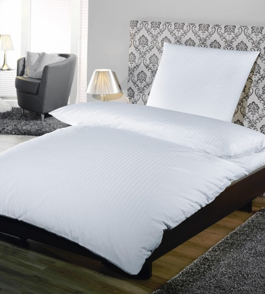 Hotelbettwäsche Komfort 2, 10, 20 mm Streifen weiss