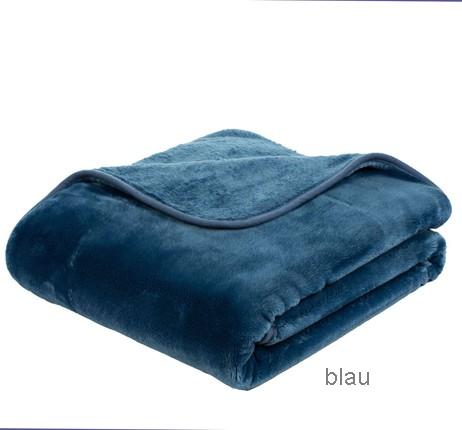 Microflauschdecke Cashmerefeeling blau