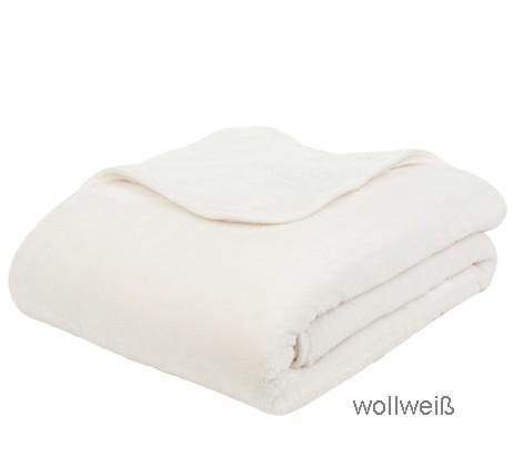 Microflauschdecke Cashmerefeeling wollweiss