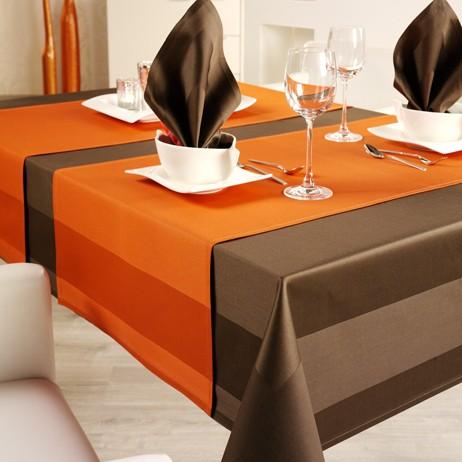 Tischdecke Atlaskante Toccata orange