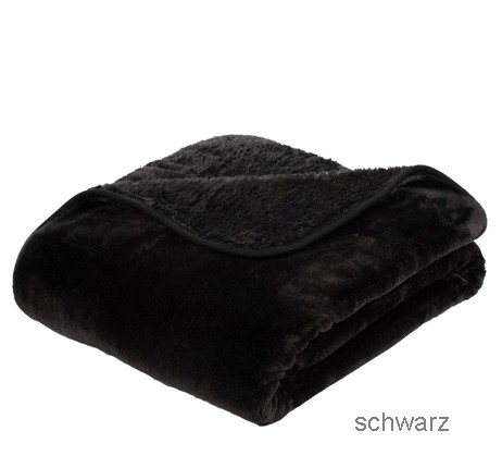 Microflauschdecke Cashmerefeeling schwarz